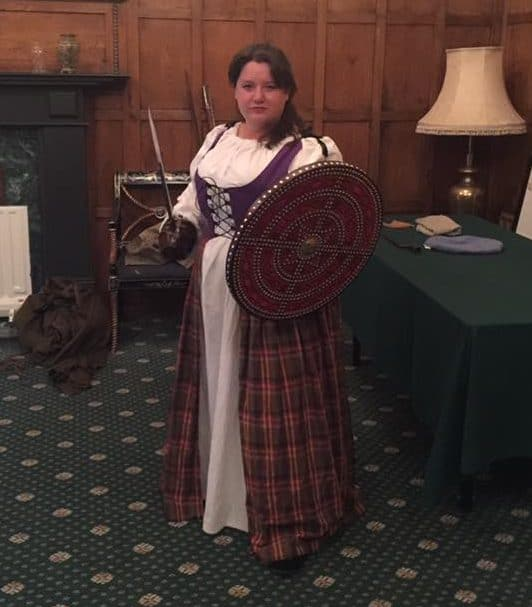Nancy Basile in a plus size wench dress at Culloden House.
