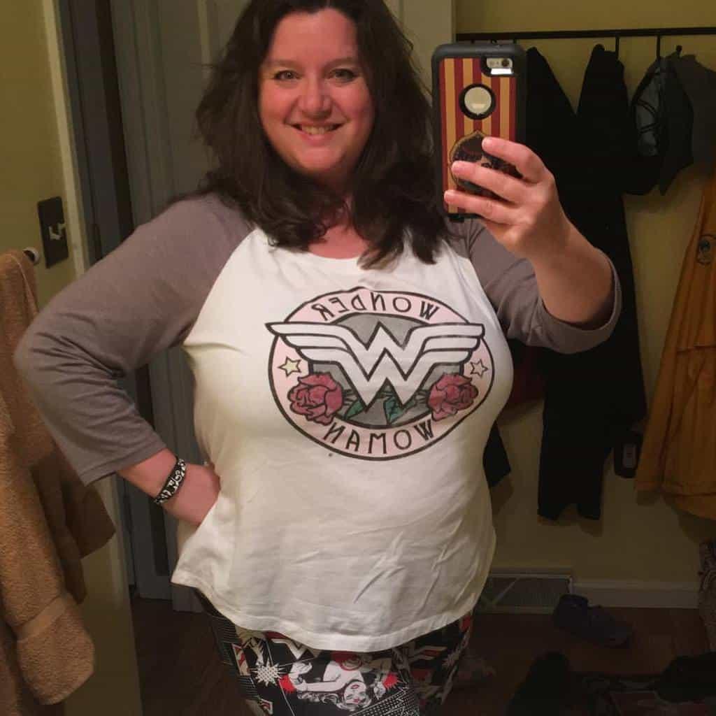 Nancy Basile in a Wonder Woman Raglan Tee