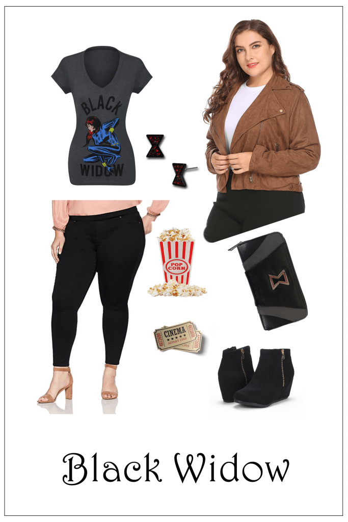 Plus Size Black Widow Shirt and Jacket