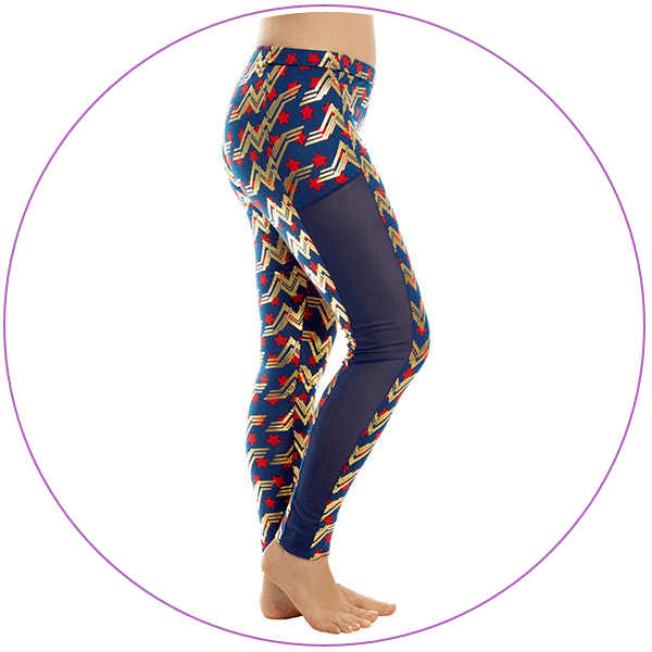 Plus Size Wonder Woman Leggings Blue Mesh