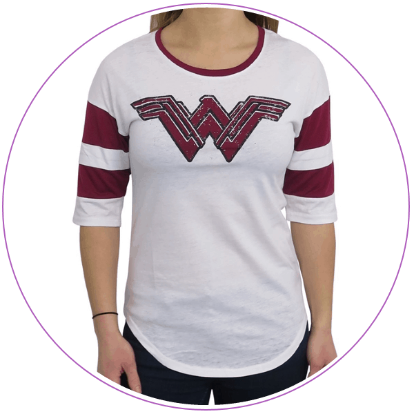Plus Size Wonder Woman Logo Raglan Tee