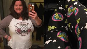 Plus Size Wonder Woman leggings and baseball t-shirt
