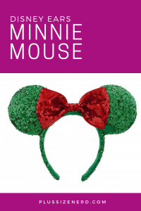 Mickey Mouse ears covered in green and red sequins