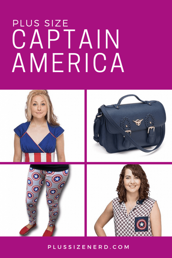 Collage of photos of clothing and purse with Captain America style