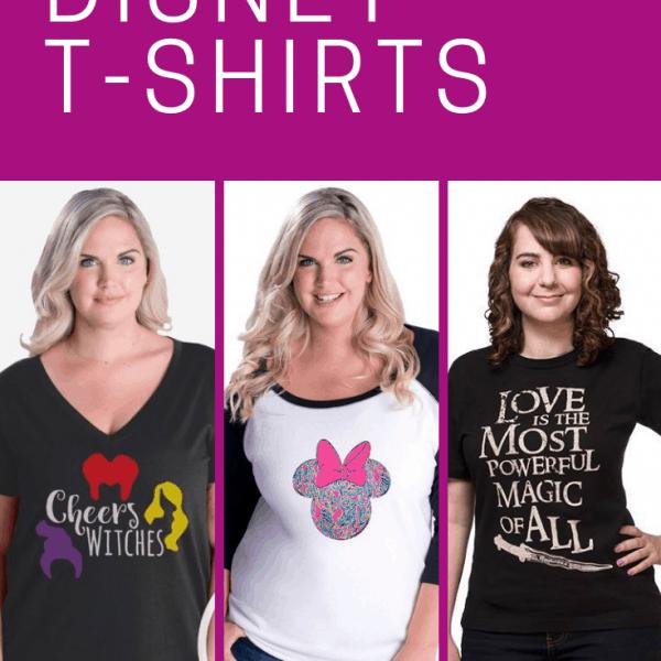 Collage of women wearing Disney t-shirts
