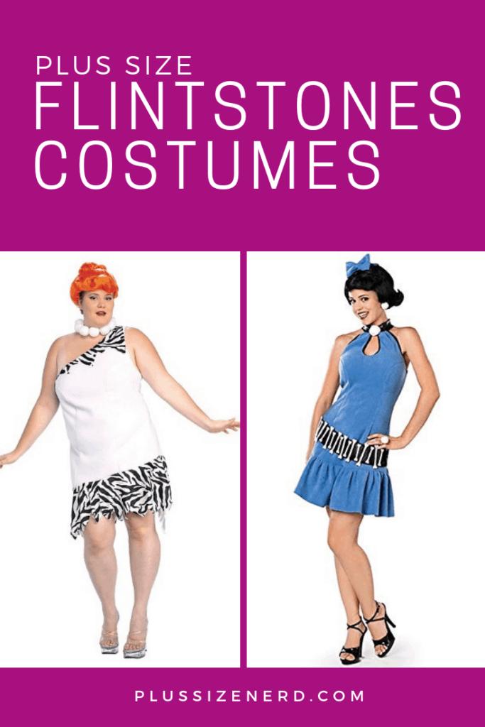 Plus size Flintstones costumes of Betty Rubble and Wilma Flintstone.