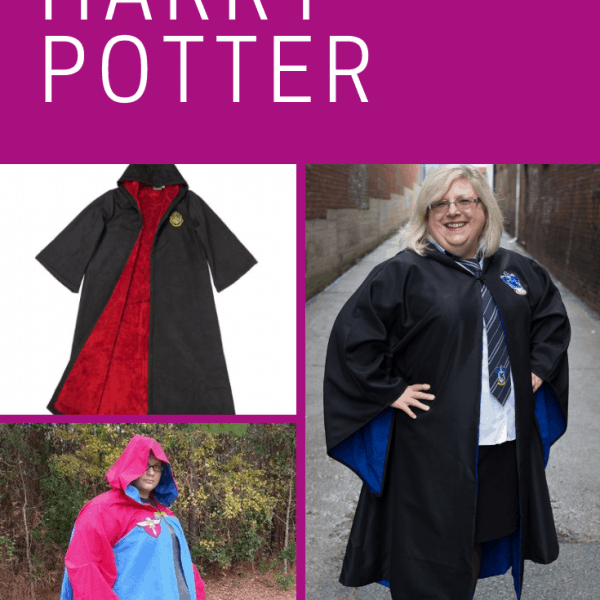 Collage of women wearing Harry Potter wizard robes