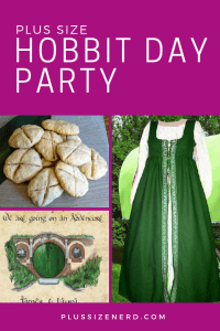 Collage of photos including a dress, scones and an illustration of Bag End.