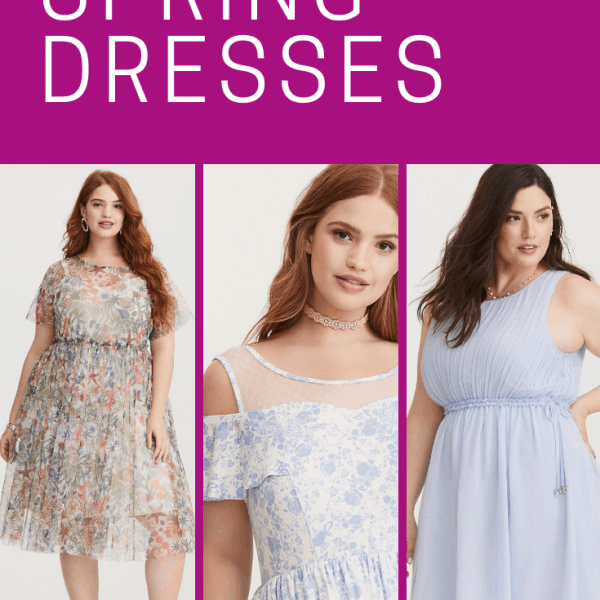 Collage of photos of women in spring dresses