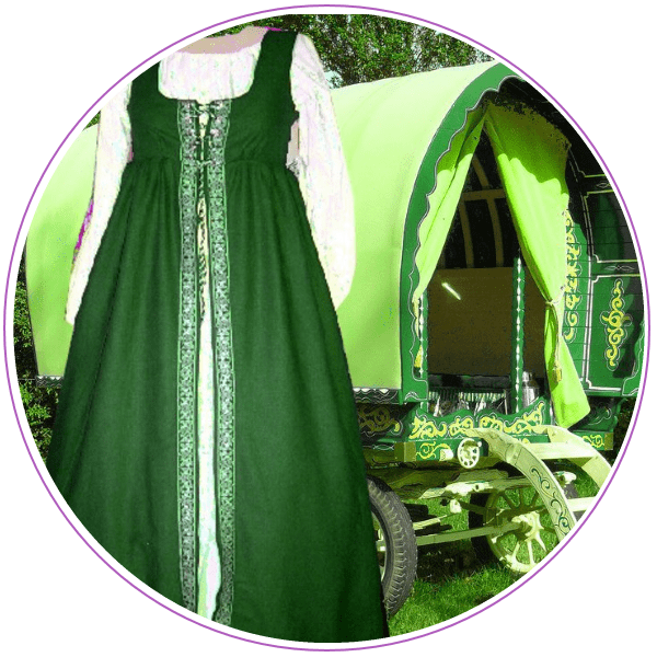 Picture of a bright green dress and bright green caravan