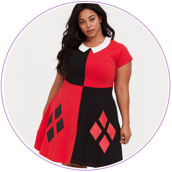 Woman wearing a red and black Harley Quinn dress