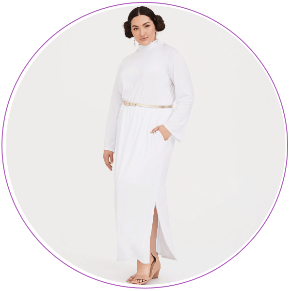 Woman wearing a white dress like Princess Leia's in Star Wars