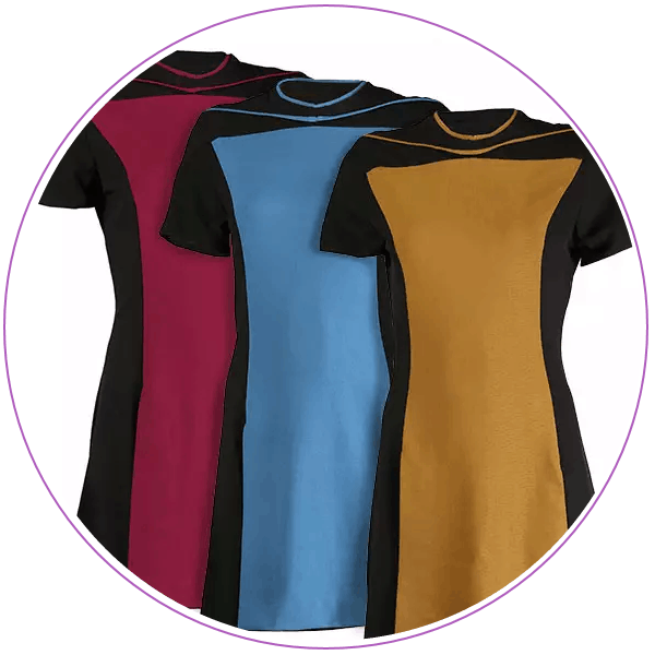 Three dresses modeled after the women's uniforms on Star Trek