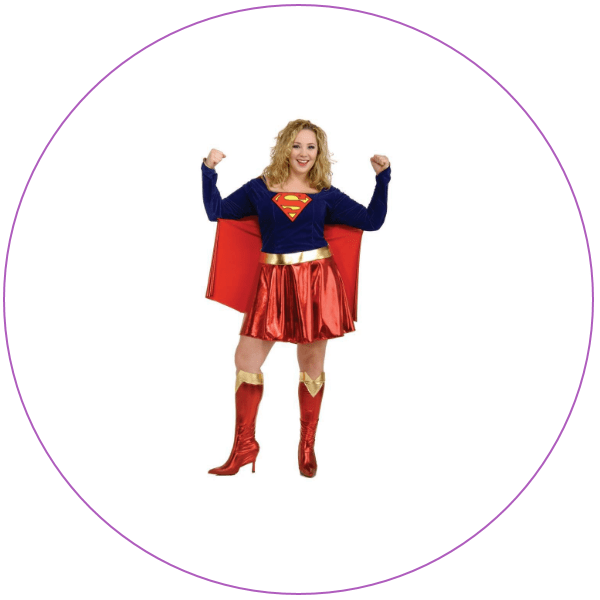 Blonde woman wearing a bright blue and red Supergirl costume