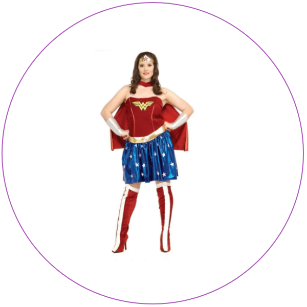 Woman wearing a bright red, white and blue costume for Wonder Woman