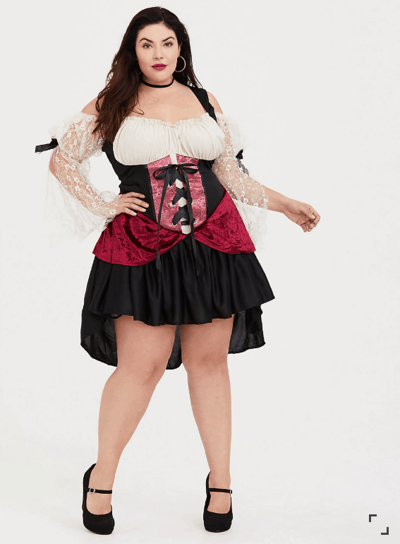 Photo of a woman in a wench costume