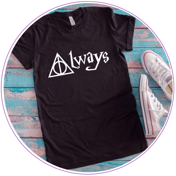 Black t-shirt that says Always