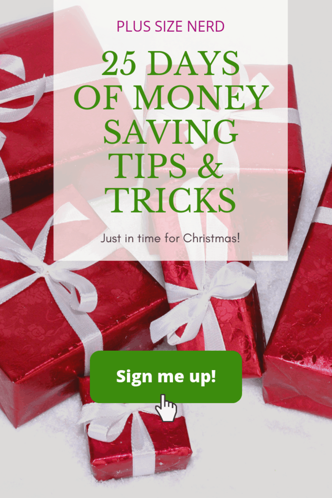 Gift boxes in red wrapping paper with text that says 25 Days of Money Saving Tips and Tricks