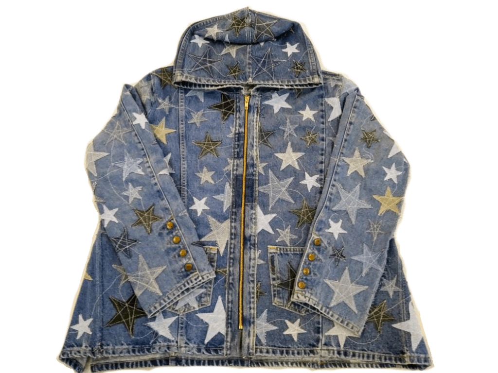 Denim jacket with stars all over it