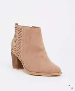 Taupe short boot with heel