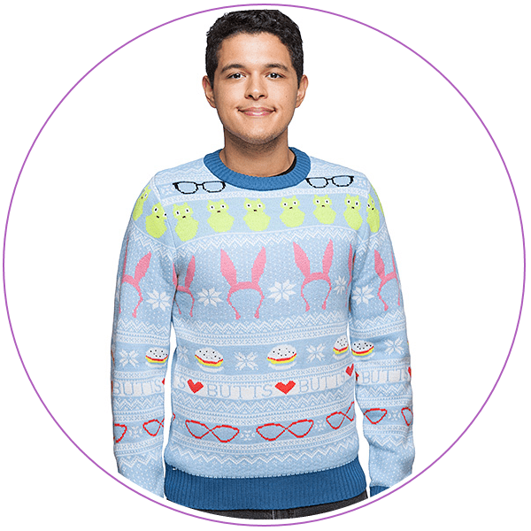 Man wearing a blue ugly Christmas sweater with symbols from Bob's Burgers