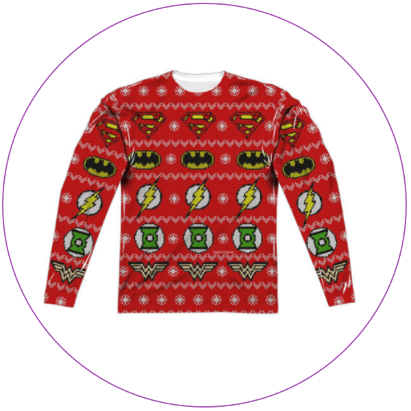 Picture of a red Christmas sweater with Superman, Batman, Green Lantern, The Flash and Wonder Woman symbols