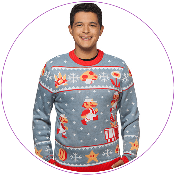 Man wearing a gray ugly Christmas sweater with Mario