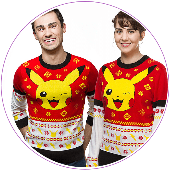 Man and woman wearing red and yellow Pokemon ugly Christmas sweaters