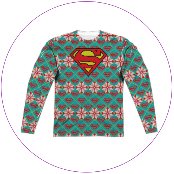 Sweater with Superman logo and Christmas colors