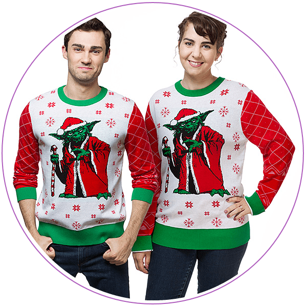 Man and woman wearing ugly Christmas sweaters of Yoda