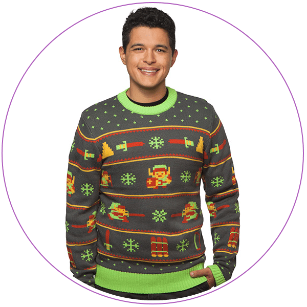 Man wearing an ugly Christmas sweater with Legend of Zelda symbols
