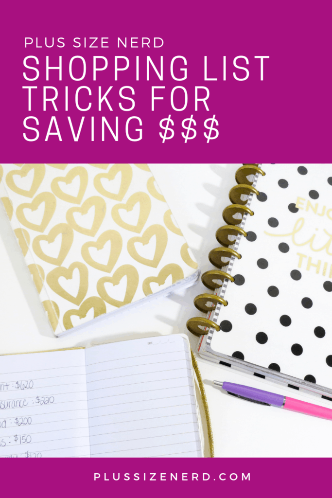 Black, gold and white planners with text overlay Shopping List Tricks to Save You Money
