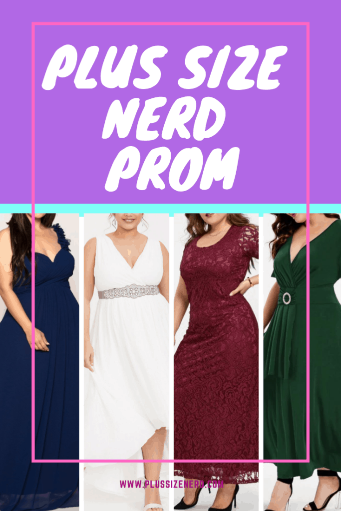 Collage of plus size prom dresses