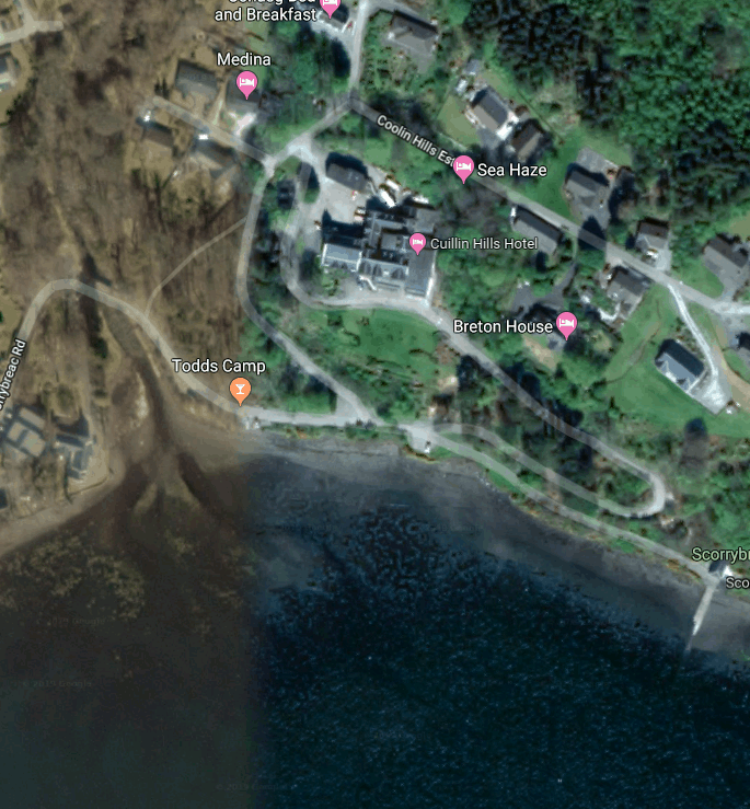 Google Earth View of Cuillin Hills Hotel