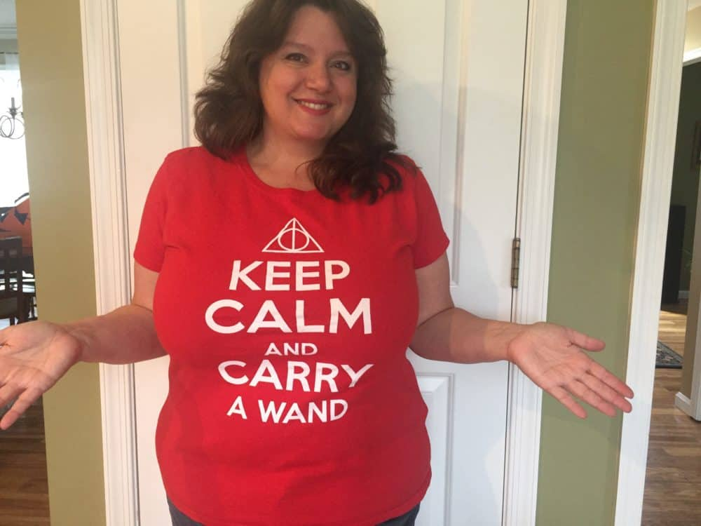 Keep Calm and Carry a Wand T-shirt is one of my favorites.